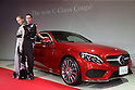 """March 14, 2016, Tokyo, Japan - Models in creation of Japanese designer Yu Amatsu of """"Hanae Mori manuscrit"""" stand next to Mercedes-Benz new C-class coupe at Mercedes' showroom in Tokyo on Monday, March 14, 2016 as Mercedes introduces the new coupe model on Japanese market. Tokyo fashion week sponsored by Merceds Benz started here on March 14 and runs through to the 19th.  (Photo by Yoshio Tsunoda/AFLO) LWX -ytd-"""