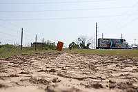 NWA Democrat-Gazette/CHARLIE KAIJO A road sign is displayed near a dirt mound next to a road under construction on the corner of Allen Rd. and Centerton Blvd.  in Centerton, AR on Friday, September 7, 2017. Centerton residents will decide Tuesday if they want to extend a one-cent sales tax to pay for road improvements, park development and a new city hall.
