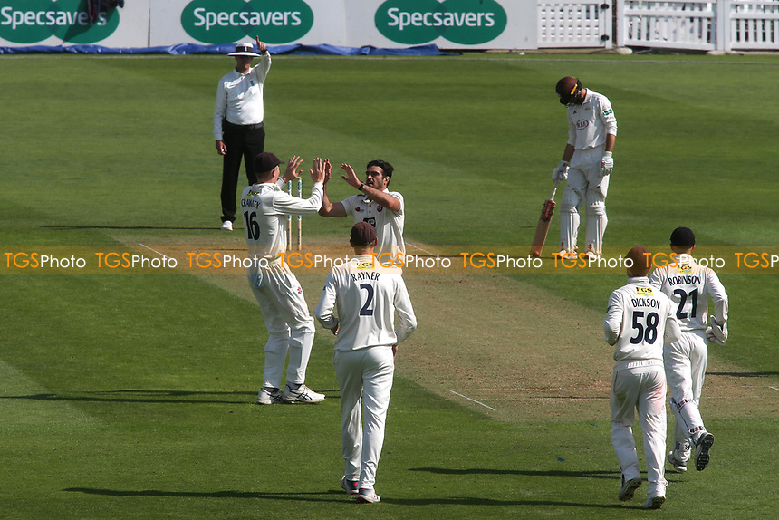 Kent bowler, Grant Stewart, celebrates taking the wicket of Surrey's Dean Elgar during Surrey CCC vs Kent CCC, Specsavers County Championship Division 1 Cricket at the Kia Oval on 7th July 2019