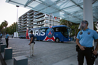 LISBON, PORTUGAL - AUGUST 15: Guards stand as the french team Paris Saint-Germain arrives to a hotel in Lisbon, on August 15, 2020.<br /> Paris Saint-Germain won against Atalanta (2-1), this Wednesday in Lisbon, to qualify for the semifinals of the Champions League, for the first time since 1995. They will play againist the RB Leipzig on Tuesday.<br /> (Photo by Luis Boza/VIEWpress via Getty Images)