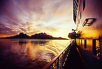 Late evening on board M/S Nordlys (coastal steamer) during Midnight Sun, near Bodo, Arctic, Northern Norway