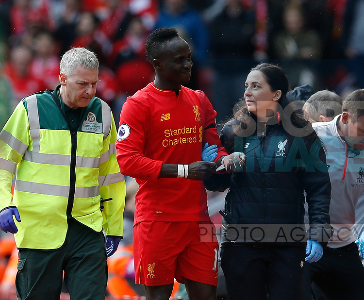 Sadio Mane of Liverpool goes off injured during the English Premier League match at Anfield Stadium, Liverpool. Picture date: April 1st 2017. Pic credit should read: Simon Bellis/Sportimage
