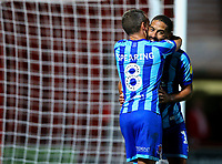 Blackpool's Jay Spearing hugs Liam Feeney after they scored a late goal<br /> <br /> Photographer Alex Dodd/CameraSport<br /> <br /> The EFL Sky Bet League One - Doncaster Rovers v Blackpool - Tuesday September 17th 2019 - Keepmoat Stadium - Doncaster<br /> <br /> World Copyright © 2019 CameraSport. All rights reserved. 43 Linden Ave. Countesthorpe. Leicester. England. LE8 5PG - Tel: +44 (0) 116 277 4147 - admin@camerasport.com - www.camerasport.com