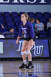 Jenna Smith (5) of the High Point Panthers warms-up prior to the match against the Liberty Flames at the Millis Athletic Center on September 23, 2016 in High Point, North Carolina.  The Panthers defeated the Flames 3-1.   (Brian Westerholt/Sports On Film)