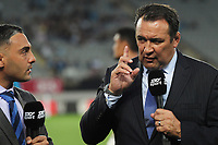 Skysport commentators Dan Bowden and Richard Turner during the Super Rugby match between the Blues and Sharks at Eden Park in Auckland, New Zealand on Saturday, 31 March 2018. Photo: Dave Lintott / lintottphoto.co.nz
