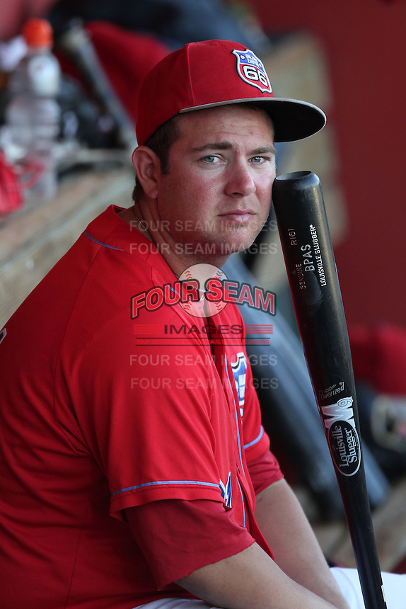 Inland Empire 66'ers designated hitter Casey Haerther #61 before a game against the San Jose Giants at Arrowhead Credit Union Park on August 1, 2011 in San Bernardino,California. San Jose defeated Inland Empire 2-1.(Larry Goren/Four Seam Images)