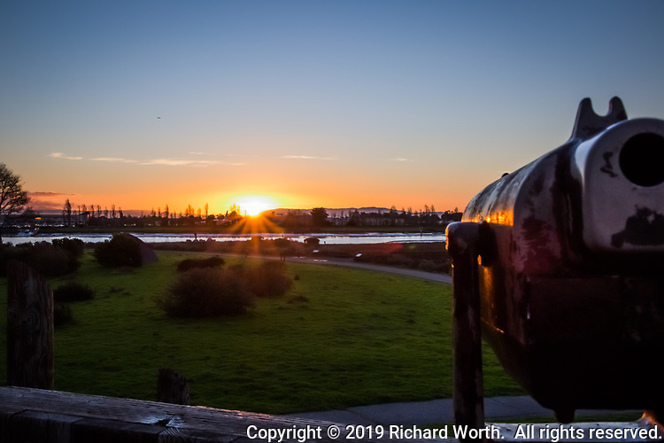 Sunset on Martin Luther King Day 2019 viewed from the observation platform at the Martin Luther King Jr. Regional Shoreline, Oakland, California.