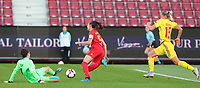 20191008 CLUJ NAPOCA:Belgium's Tessa Wullaert (9)  is attempting to pass the Romania's goal keeper Mirela Ganea (1)  and the Romania's Brigita Goder (15) is trying to catch up with Tessa Wullaert at the match between Belgium Women's National Team and Romania Women's National Team as part of EURO 2021 Qualifiers on 8th of October 2019 at CFR Stadium, Cluj Napoca, Romania. PHOTO SPORTPIX | SEVIL OKTEM