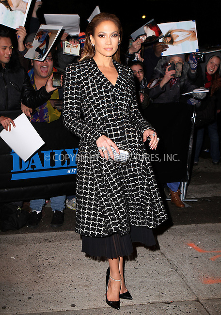 WWW.ACEPIXS.COM<br /> <br /> January 20 2015, New York City<br /> <br /> Actress and singer Jennifer Lopez made an appearance at 'The Daily show with Jon Stewart' on January 20 2015 in New York City<br /> <br /> By Line: Nancy Rivera/ACE Pictures<br /> <br /> <br /> ACE Pictures, Inc.<br /> tel: 646 769 0430<br /> Email: info@acepixs.com<br /> www.acepixs.com