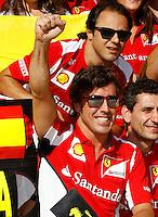 VALENCIA, ESPANHA, 24 JUNHO 2012 - F1 - GP DA EUROPA - Fernando Alonso da Ferrari comemora vitoria do GP da Europa dispudado em Valencia na Espanha, neste domingo, 24. FOTO PIXATHLON BRAZIL / PHOTO PRESS.