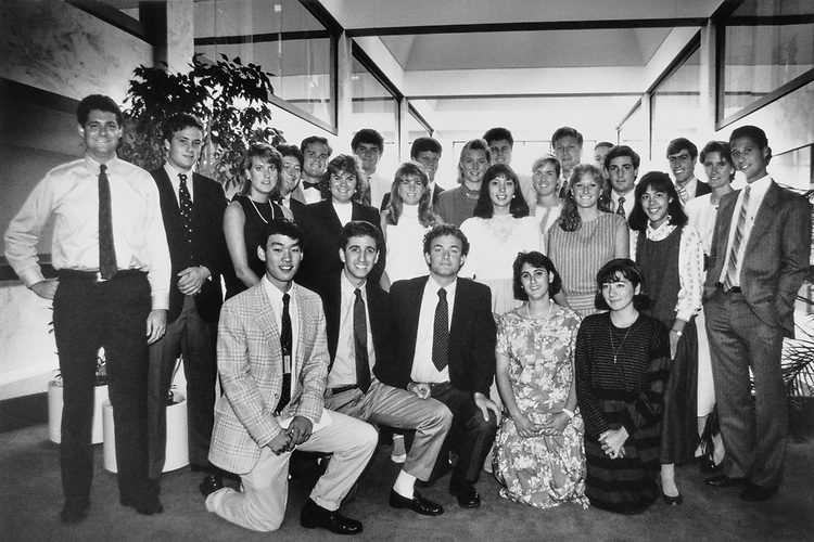 Sen. Pete Wilson, R-Calif. with interns in 1983. (Photo by CQ Roll Call)