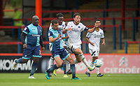 Nick Freeman of Wycombe Wanderers battles Callum Reynolds of Aldershot Town during the pre season friendly match between Aldershot Town and Wycombe Wanderers at the EBB Stadium, Aldershot, England on 22 July 2017. Photo by Andy Rowland.
