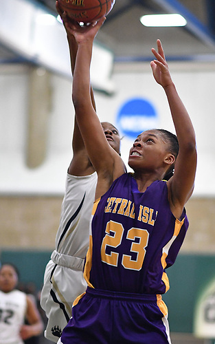 Anhya Jenkins #23 of Central Islip looks to drive to the hoop during the Class AA varsity girls basketball Long Island Championship against Baldwin at SUNY Old Westbury on Saturday, March 11, 2017. Baldwin defeated Central Islip by a score of 56-31.