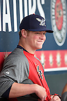 Harrisburg Senators outfielder Drew Vettleson (20) in the dugout during batting practice before a game against the New Britain Rock Cats on April 28, 2014 at Metro Bank Park in Harrisburg, Pennsylvania.  Harrisburg defeated New Britain 9-0.  (Mike Janes/Four Seam Images)