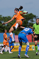 Keeley Dowling (17) of Sky Blue FC is fouled by Kelly Smith (10) of the Boston Breakers . Sky Blue FC defeated the Boston Breakers 1-0 during a Women's Professional Soccer match at Yurcak Field in Piscataway, NJ, on July 4, 2009.