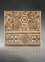 Pictures of a geometric Roman mosaic, from the ancient Roman city of Thysdrus. 3rd century AD. El Djem Archaeological Museum, El Djem, Tunisia. Against a grey background