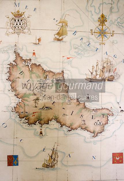 Europe/France/Bretagne/56/Morbihan/Belle-Ile/ Le Palais: Hôtel-Musée de la Citadelle -Citadelle Vauban Détail d'une carte de l'ile au musée