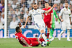 Karim Benzema (r) of Real Madrid fights for the ball with Jerome Boateng of FC Bayern Munich during their 2016-17 UEFA Champions League Quarter-finals second leg match between Real Madrid and FC Bayern Munich at the Estadio Santiago Bernabeu on 18 April 2017 in Madrid, Spain. Photo by Diego Gonzalez Souto / Power Sport Images