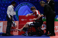 14th March 2020, Arena Birmingham, Birmingham, UK; Denmarks Anders Antonsen C retires injured during the mens singles semifinal match with Chinese Taipeis Chou Tien Chen at All England Badminton 2020 in Birmingham
