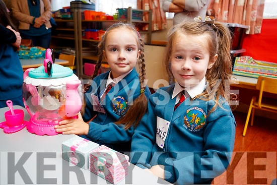 Sofia Nosvaa and Elexis Gaynor, pictured on their first day of school at Scoil Eoin Balloonagh, Tralee on Wednesday morning last.
