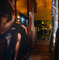 A copy of an elaborate fresco is wallpapered onto the walls of the lobby