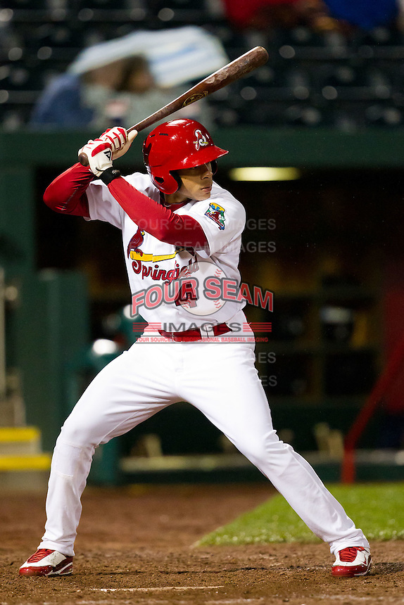 Thomas Pham (4) of the Springfield Cardinals at bat during a game against the Northwest Arkansas Naturals on May 13, 2011 at Hammons Field in Springfield, Missouri.  Photo By David Welker/Four Seam Images.
