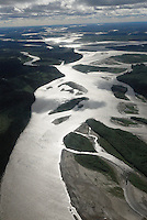 The Yukon River's many channels gleam in the sun north of Fairbanks, Alaska.