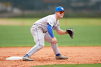 Central Connecticut State Blue Devils infielder Chandler Debrosse (1) during warmups before a game against the North Dakota State Bison on February 23, 2018 at North Charlotte Regional Park in Port Charlotte, Florida.  North Dakota State defeated Connecticut State 2-0.  (Mike Janes/Four Seam Images)
