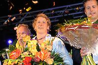TURNEN: HEERENVEEN: centrum Heerenveen, 16-08-2012, Huldiging Olympisch kampioen, Epke Zonderland met z'n gouden medaille, benoemd tot Ereburger van Heerenveen, Gerben Wiersma (trainer Céline van Gerner), ©foto Martin de Jong