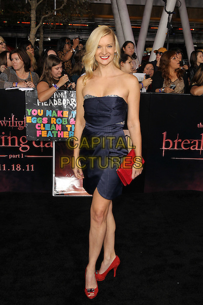"ANDREA POWELL.World Premiere of  ""The Twilight Saga: Breaking Dawn - Part 1,"" at the Nokia Theatre at LA Live. Los Angeles, CA USA..November 14th, 2011.full length blue strapless dress red clutch bag.CAP/CEL .©CelPh/Capital Pictures"
