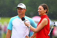 Alex Noren does a tv interview after winning the BMW Championship during the BMW PGA Golf Championship at Wentworth Golf Course, Wentworth Drive, Virginia Water, England on 28 May 2017. Photo by Steve McCarthy/PRiME Media Images.