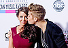 "JUSTIN BIEBER KISSES MUM PATTIE MALLETTE.attends the 40th American Music Awards, Nokia Theatre, Los Angeles_18/11/2012.Mandatory Photo Credit: ©Francis Dias/Newspix International..**ALL FEES PAYABLE TO: ""NEWSPIX INTERNATIONAL""**..PHOTO CREDIT MANDATORY!!: NEWSPIX INTERNATIONAL(Failure to credit will incur a surcharge of 100% of reproduction fees)..IMMEDIATE CONFIRMATION OF USAGE REQUIRED:.Newspix International, 31 Chinnery Hill, Bishop's Stortford, ENGLAND CM23 3PS.Tel:+441279 324672  ; Fax: +441279656877.Mobile:  0777568 1153.e-mail: info@newspixinternational.co.uk"