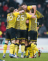 CELTIC'S SCOTT BROWN IS CONGRATULATED AFTER HE SCORES THE SECOND