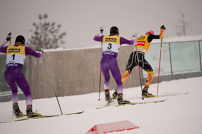 HOLMENKOLLEN, OSLO, NORWAY - March 15: (L-R) Yoshito Watabe of Japan (JPN), Akito Watabe of Japan (JPN) and Eric Frenzel of Germany (GER) during the cross country 10 km (4 x 2.5 km) competition at the FIS Nordic Combined World Cup on March 15, 2013 in Oslo, Norway. (Photo by Dirk Markgraf)