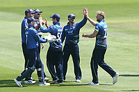 Calum Haggett of Kent celebrates with his team mates after taking the wicket of Varun Chopra during Essex Eagles vs Kent Spitfires, Royal London One-Day Cup Cricket at The Cloudfm County Ground on 6th June 2018
