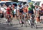 Alberto Contador (w), Alejandro Valverde (g) and Joaquin Purito Rodriguez (r) during the stage of La Vuelta 2012 between La Robla and Lagos de Covadonga.September 2,2012. (ALTERPHOTOS/Paola Otero)