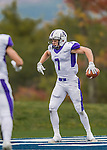 8 October 2016: Amherst College Purple & White Wide Receiver Devin Boehm, a Senior from Wilmette, IL, celebrates a touchdown during game action against the Middlebury College Panthers at Alumni Stadium in Middlebury, Vermont. The Panthers edged out the Purple & While 27-26. Mandatory Credit: Ed Wolfstein Photo *** RAW (NEF) Image File Available ***