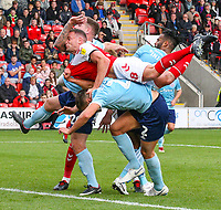 Fleetwood Town's James Wallace battles with Accrington Stanley's Callum Johnson, Billy Kee and Michael Ihiekwe<br /> <br /> Photographer Alex Dodd/CameraSport<br /> <br /> The EFL Sky Bet League One - Fleetwood Town v Accrington Stanley - Saturday 15th September 2018  - Highbury Stadium - Fleetwood<br /> <br /> World Copyright &copy; 2018 CameraSport. All rights reserved. 43 Linden Ave. Countesthorpe. Leicester. England. LE8 5PG - Tel: +44 (0) 116 277 4147 - admin@camerasport.com - www.camerasport.com