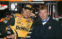 Matt Kenseth, left, and Jeff Burton at the Carolina Dodeg Dealers 400 NASCAR WInston Cup race at Darlington Raceway, Darlington, SC, March 16, 2003.  (Photo by Brian Cleary/www.bcpix.com)
