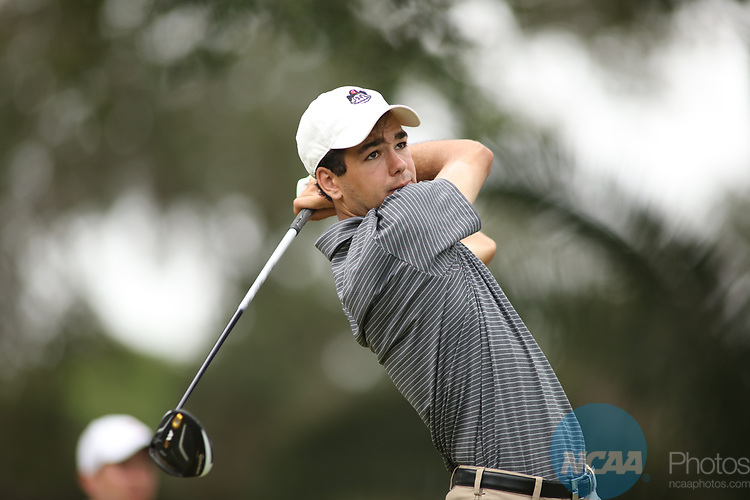 HOWEY IN THE HILLS, FL - MAY 19: Harrison Frye tees off during the Division III Men's Golf Championship held at the Mission Inn Resort and Club on May 19, 2017 in Howey In The Hills, Florida. (Photo by Cy Cyr/NCAA Photos via Getty Images)