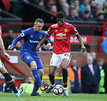 Wayne Rooney of Everton nutmegs Marcus Rashford of Manchester United during the premier league match at the Old Trafford Stadium, Manchester. Picture date 17th September 2017. Picture credit should read: Simon Bellis/Sportimage