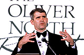 """United States Marine Corps Lieutenant Colonel Oliver North is """"roasted by the Media Research Center at a gala in Washington, DC on March 21, 1990.  On May 7, 2018 North was named as the president of the National Rifle Association (NRA).<br /> Credit: Ron Sachs / CNP"""