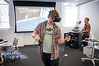 CDLA's 360 Video Day on September 22, 2017 in the Varelas Innovation Lab in Johnson Hall.<br /> The CDLA (Center for Digital Liberal Arts) created the all­-day program of events and speakers that surrounds the theory and practice of 360 images and video. Students could test out Vive, Oculus, and 360 cameras.<br /> (Photo by Marc Campos, Occidental College Photographer)