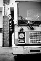 Firefighter helmet #11 inside a firetruck outside of a Fire Department FIre Station in Birmingham, Alabama
