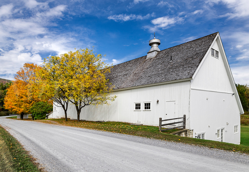 Charming white barn, Arlington, Vermont, USA.