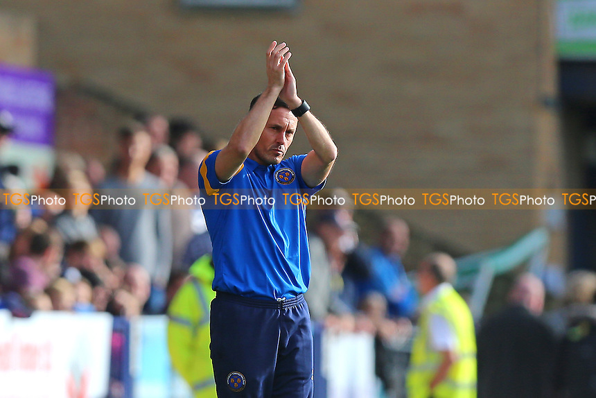 Shrewsbury Town manager Paul Hurst applauds the travelling fans during Southend United vs Shrewsbury Town, Sky Bet EFL League 1 Football at Roots Hall on 29th October 2016