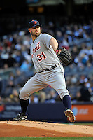Apr 02, 2011; Bronx, NY, USA; Detroit Tigers pitcher Brad Penny (31) during game against the New York Yankees at Yankee Stadium. Yankees defeated the Tigers 10-6. Mandatory Credit: Tomasso De Rosa