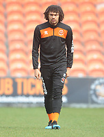 Blackpool's Nya Kirby during the pre-match warm-up <br /> <br /> Photographer Kevin Barnes/CameraSport<br /> <br /> The EFL Sky Bet League One - Blackpool v Plymouth Argyle - Saturday 30th March 2019 - Bloomfield Road - Blackpool<br /> <br /> World Copyright © 2019 CameraSport. All rights reserved. 43 Linden Ave. Countesthorpe. Leicester. England. LE8 5PG - Tel: +44 (0) 116 277 4147 - admin@camerasport.com - www.camerasport.com