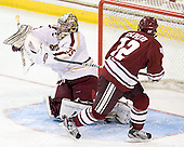 Parker Milner (BC - 35), Rocco Carzo (UMass - 12) - The Boston College Eagles defeated the University of Massachusetts-Amherst Minutemen 3-2 to take their Hockey East Quarterfinal matchup in two games on Saturday, March 10, 2012, at Kelley Rink in Conte Forum in Chestnut Hill, Massachusetts.