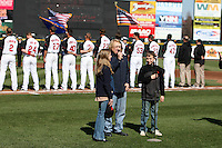 Rochester Red Wings pre-game national anthem before a game against the Scranton Wilkes-Barre Yankees at Frontier Field on April 9, 2011 in Rochester, New York.  Rochester defeated Scranton 7-6 in twelve innings.  Photo By Mike Janes/Four Seam Images